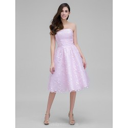 Australia Formal Dresses Cocktail Dress Party Dress Blushing Pink A-line Strapless Short Knee-length Lace